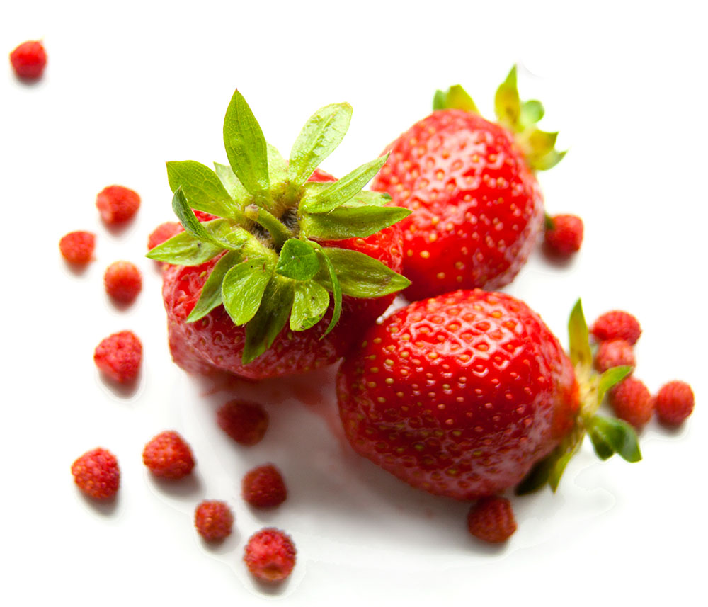 Strawberries on a white table