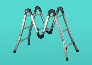 Articulated Ladder against a teal background
