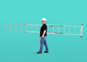 Man carrying an extension ladder